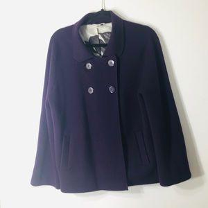 Talbots purple xl merino wool coat